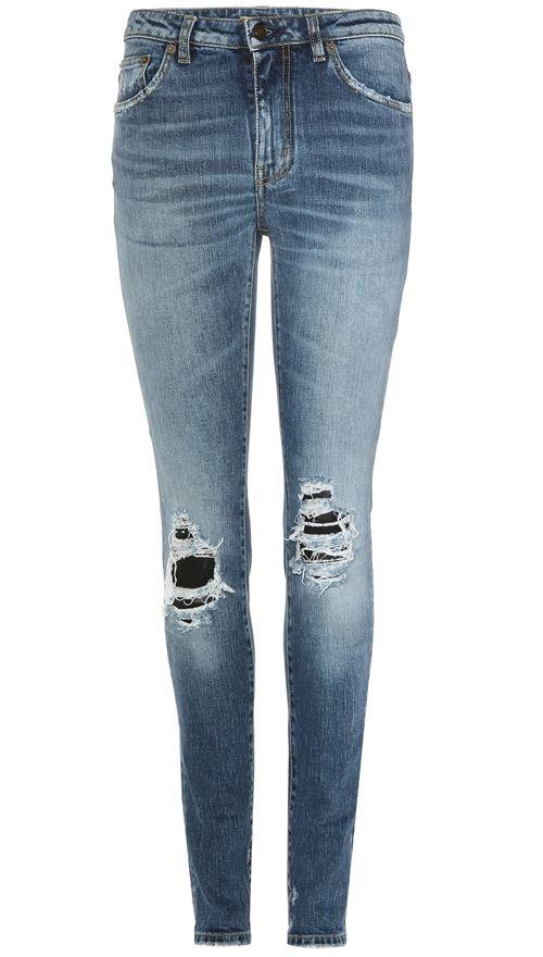 рваные джинсы слим протертые