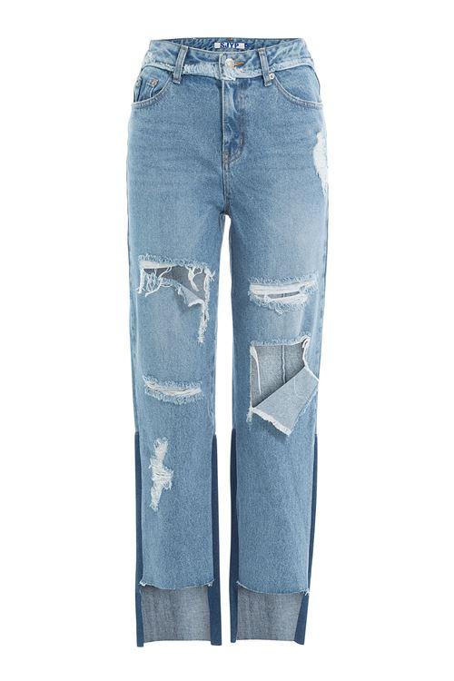 прямые рваные джинсы с большими дырками