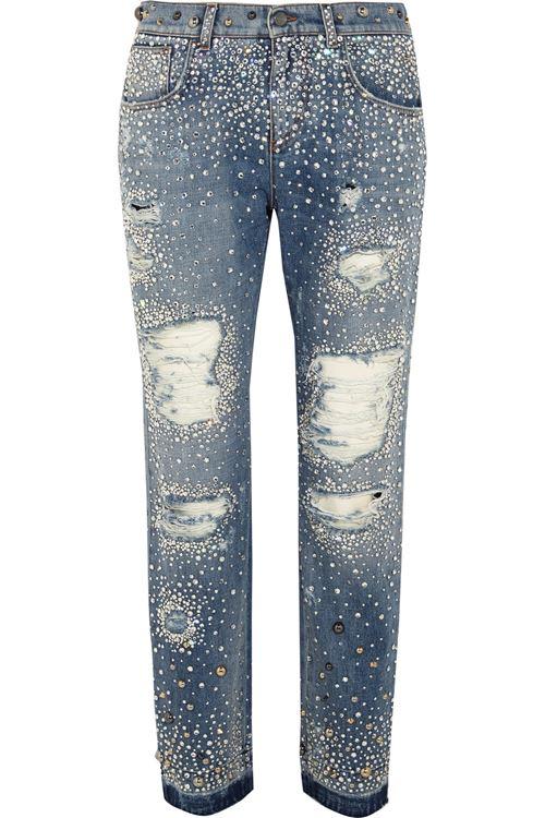 рваные джинсы инкрустированные кристаллами