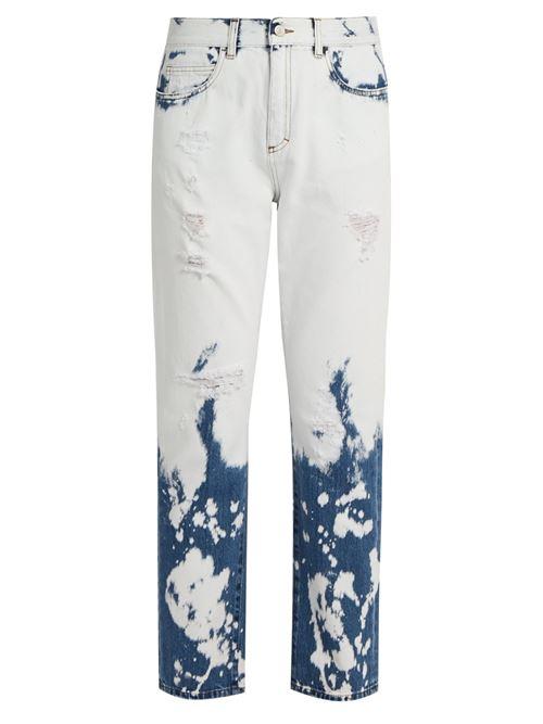 бело-синие рваные джинсы
