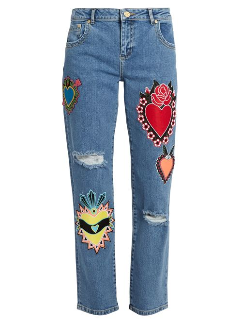 рваные джинсы с аппликациями