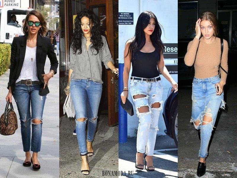 С чем носить рваные джинсы: жакет, рубашка, топ, свитер