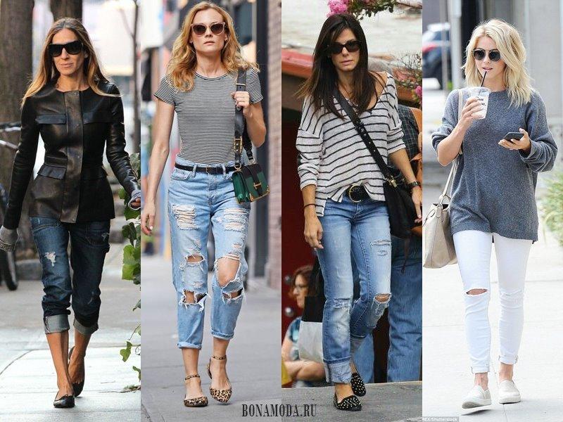 С чем носить рваные джинсы: кожанка, лонгслив, вязаный длинный свитер