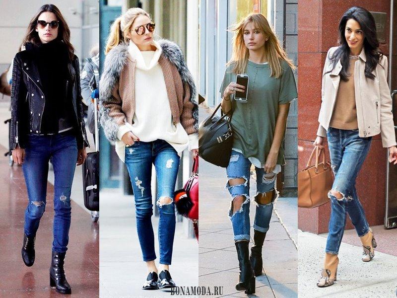 С чем носить рваные джинсы: кожаная куртка, трикотажная кофта, зеленый топ, ботильоны