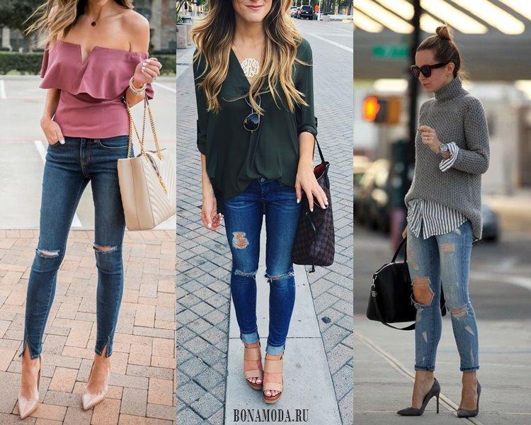 С чем носить рваные джинсы: топ, блузка, свитер, шпильки