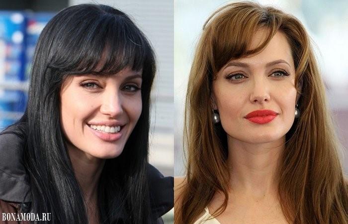 Стрижки с чёлкой: прически Анджелины Джоли - распущенные длинные волосы