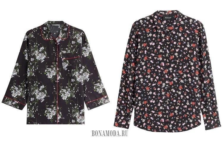 черные цветочные блузки 2017