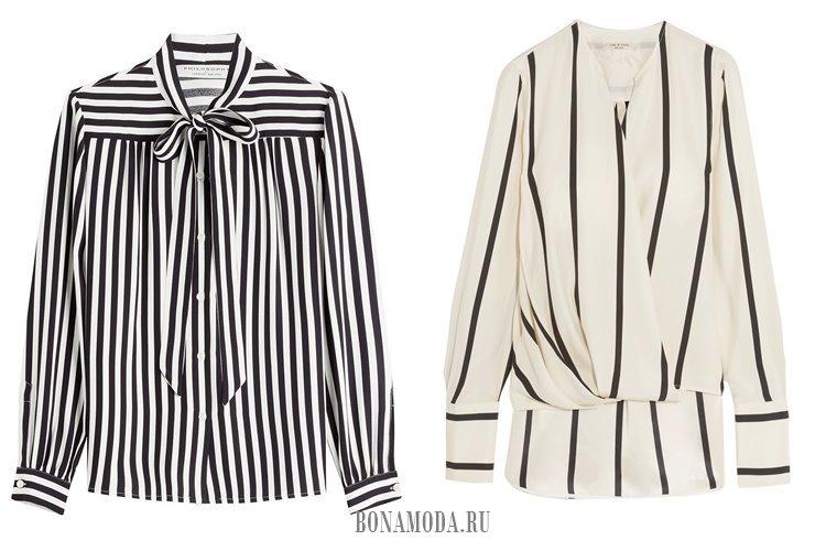 черно-белые блузки в полоску 2017