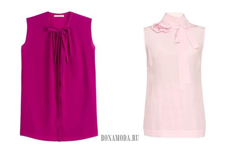 розовые блузки без рукавов 2017