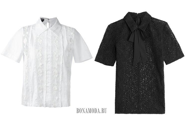 черная и белая кружевные блузки с воротником