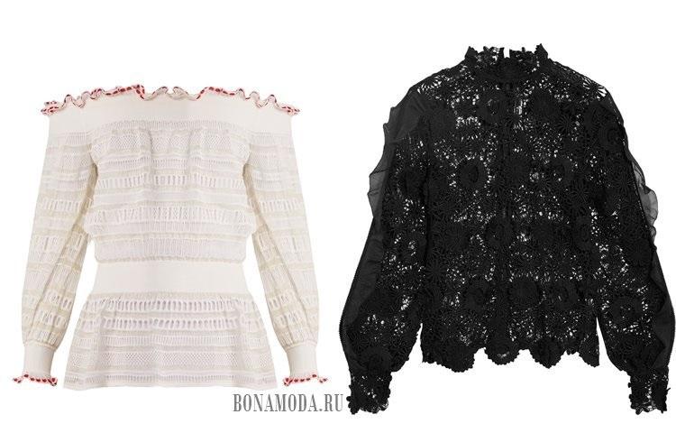 белая и черная кружевные блузки 2017