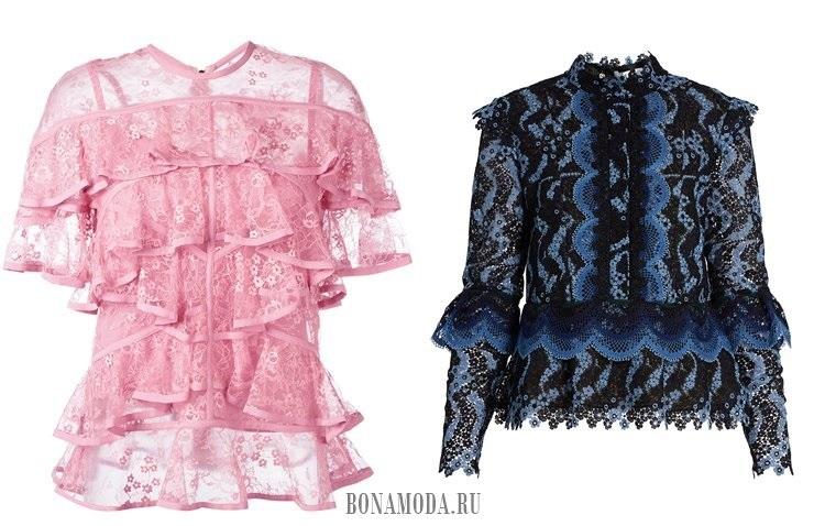 розовая и синяя кружевные блузы с воланами 2017