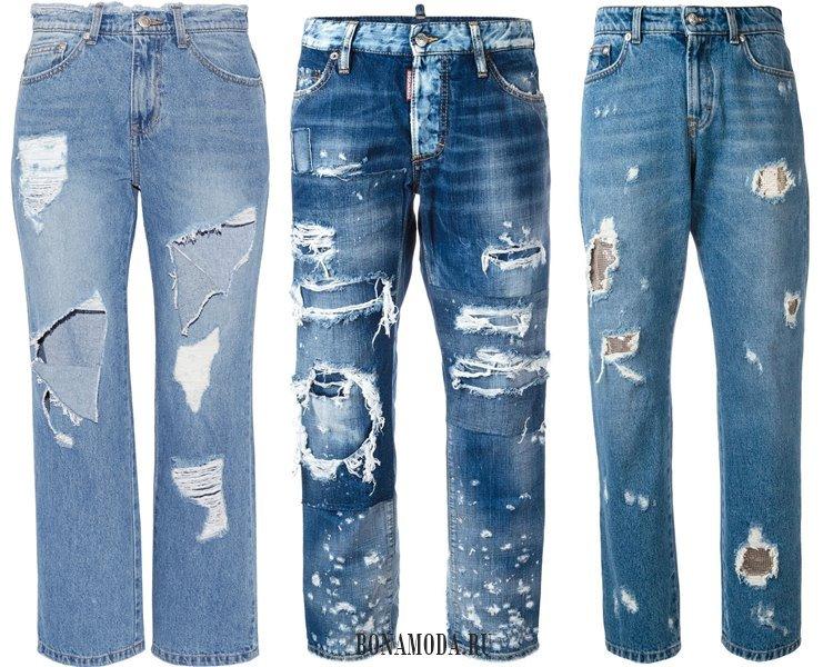 Модные женские джинсы 2017: рваный деним