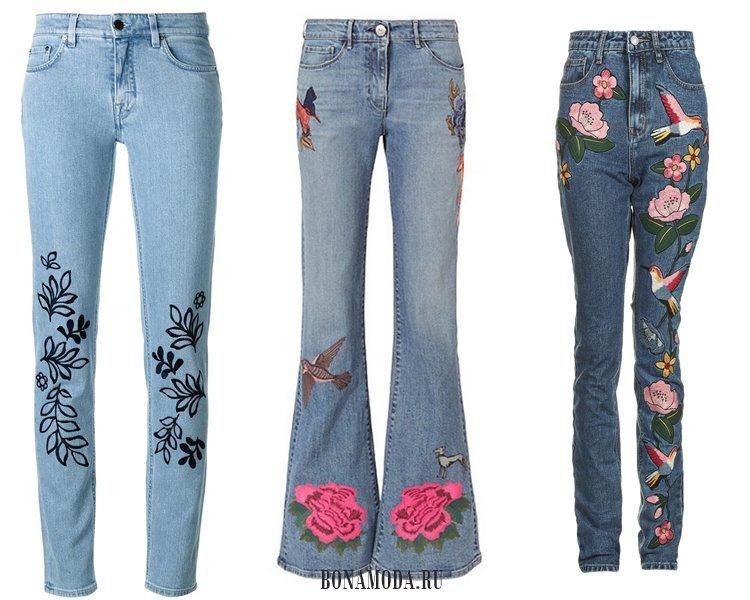 Модные женские джинсы 2017: цветочная вышивка