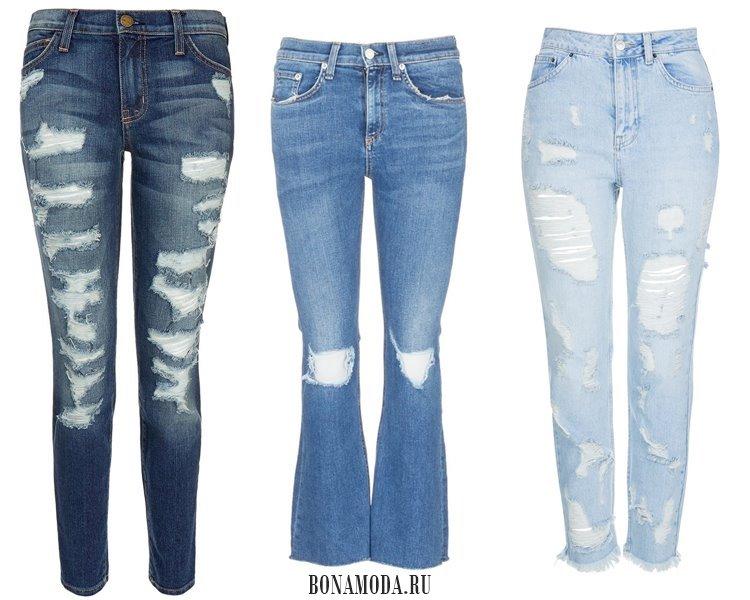 Модные женские джинсы 2017: скинни рваные