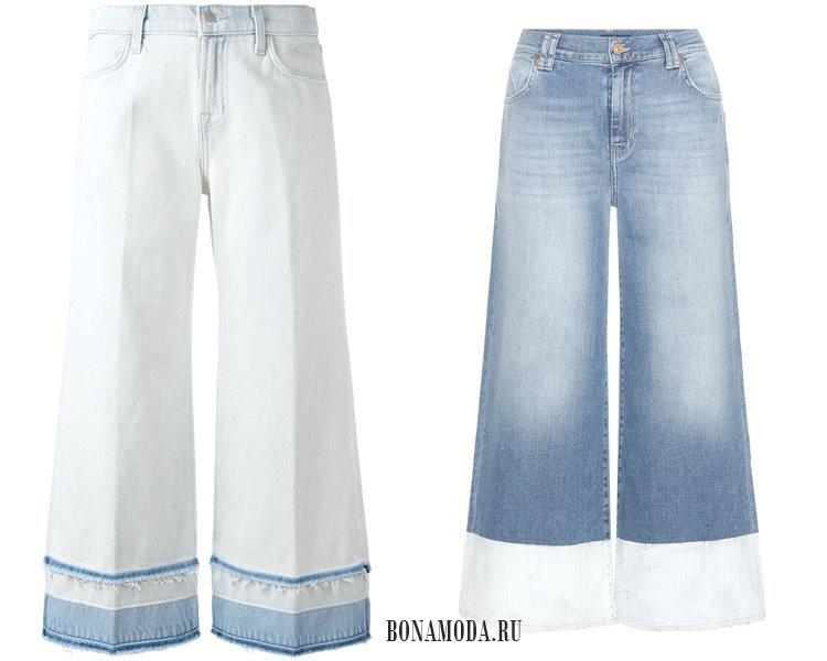 Модные женские джинсы 2017: бело-голубые кюлоты из денима