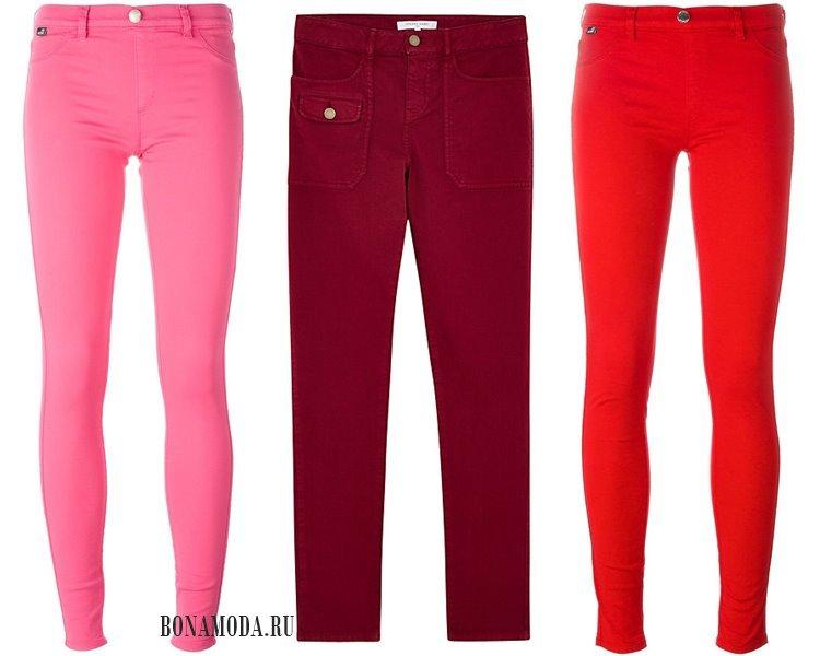 Модные женские джинсы 2017: красные розовые оранжевые