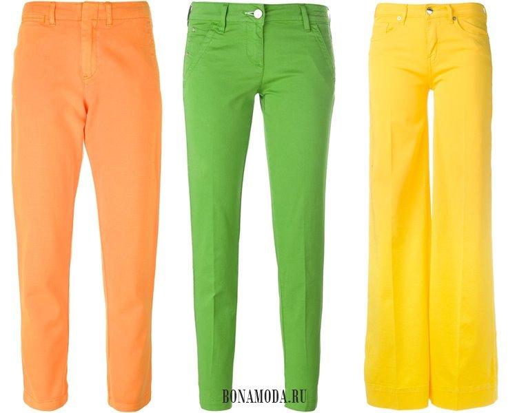 Модные женские джинсы 2017: оранжевые зеленые желтые