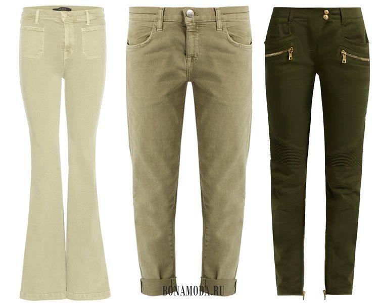 Модные женские джинсы 2017: оттенки хаки
