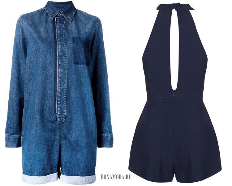 синие джинсовые комбинезоны шорты
