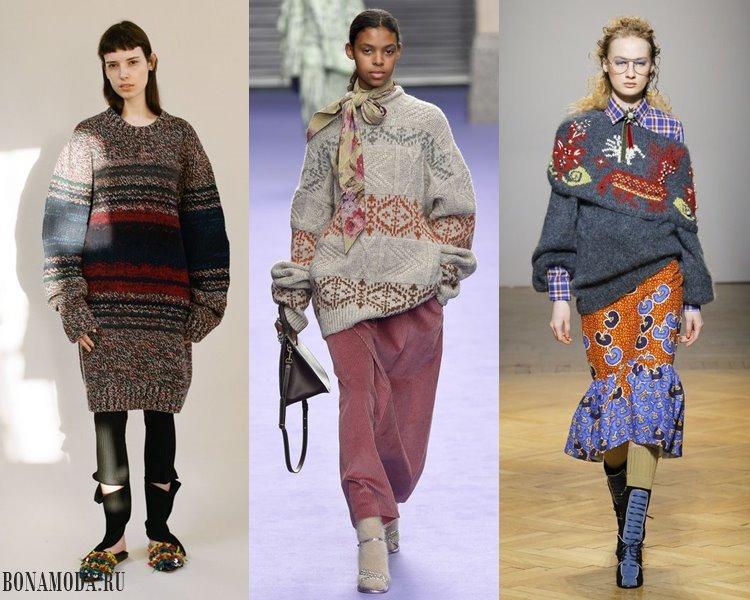 Женские трикотажные свитера 2017-2018: этнический принт