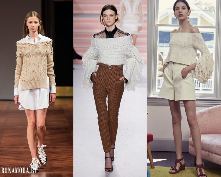 Женские трикотажные свитера 2017-2018: светлые с открытыми плечами