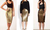 Золотые юбки-карандаш 2017: драгоценная элегантность