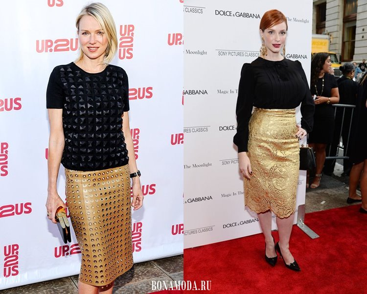 С чем носить золотую юбку: вечерние блузки