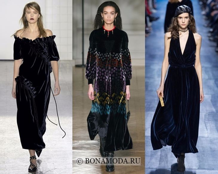 Модные платья осень-зима 2017-2018: чёрные бархатные