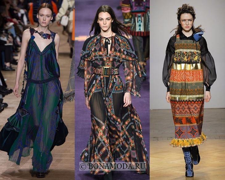 Модные платья осень-зима 2017-2018: длинные фольклорные