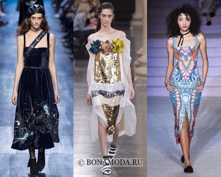 Модные платья осень-зима 2017-2018: сарафаны на тонких бретелях
