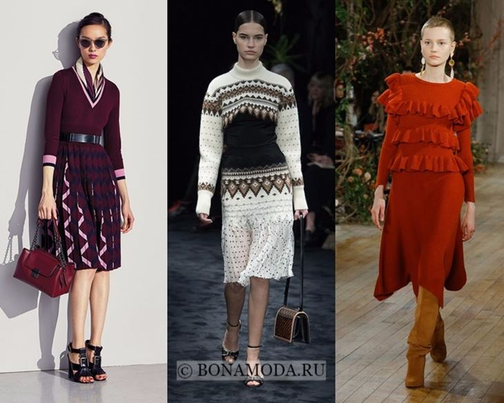 Модные платья осень-зима 2017-2018: до колена трикотажные