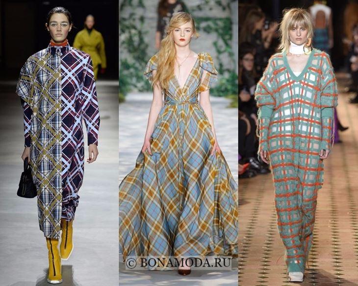 Модные платья осень-зима 2017-2018: длинные клетчатые