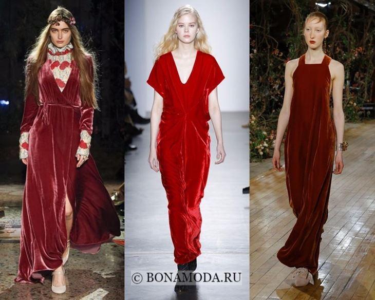 Модные платья осень-зима 2017-2018: красные бархатные
