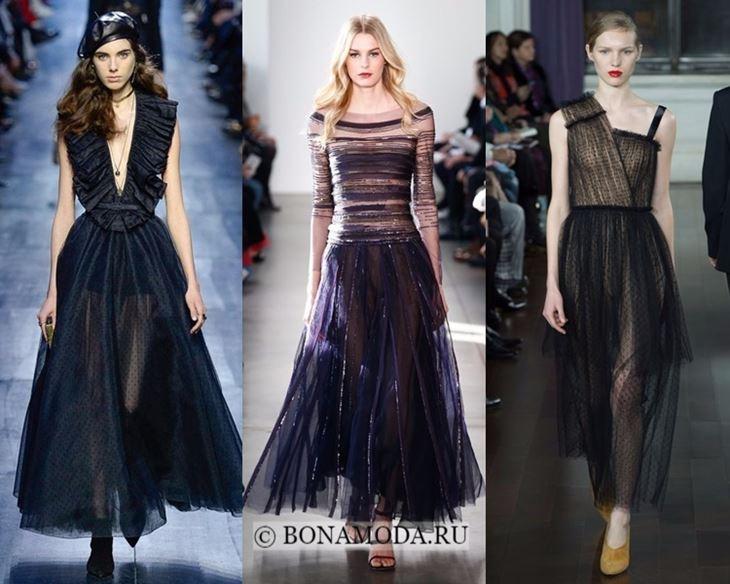 Модные платья осень-зима 2017-2018:  прозрачные тюлевые