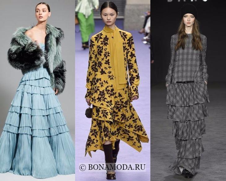 Модные платья осень-зима 2017-2018: длинные многоярусные