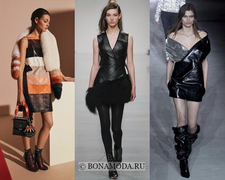 Модные платья осень-зима 2017-2018: короткие кожаные
