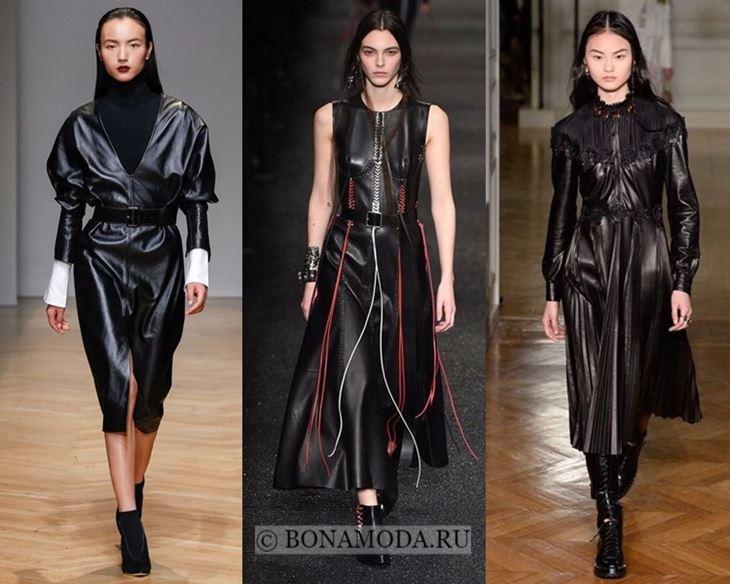 Модные платья осень-зима 2017-2018: миди кожаные