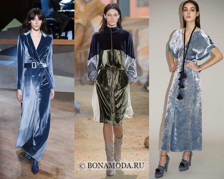 Модные платья осень-зима 2017-2018: синие бархатные