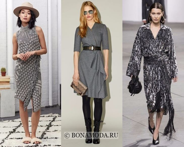 Модные платья осень-зима 2017-2018: серые с запахом