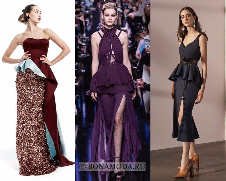 Модные платья осень-зима 2017-2018: вечерние с баской