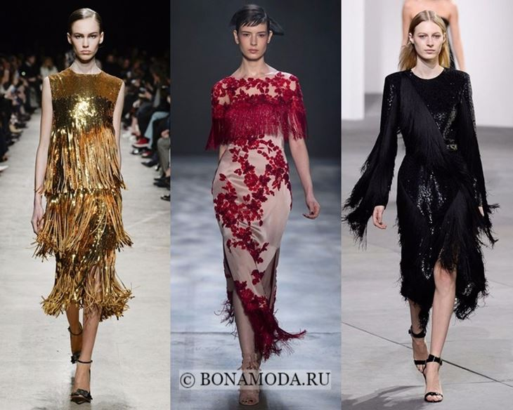 Модные платья осень-зима 2017-2018: вечерние с бахромой