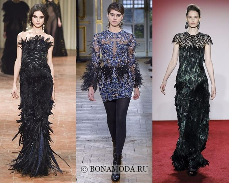 Модные платья осень-зима 2017-2018: с пышными перьями