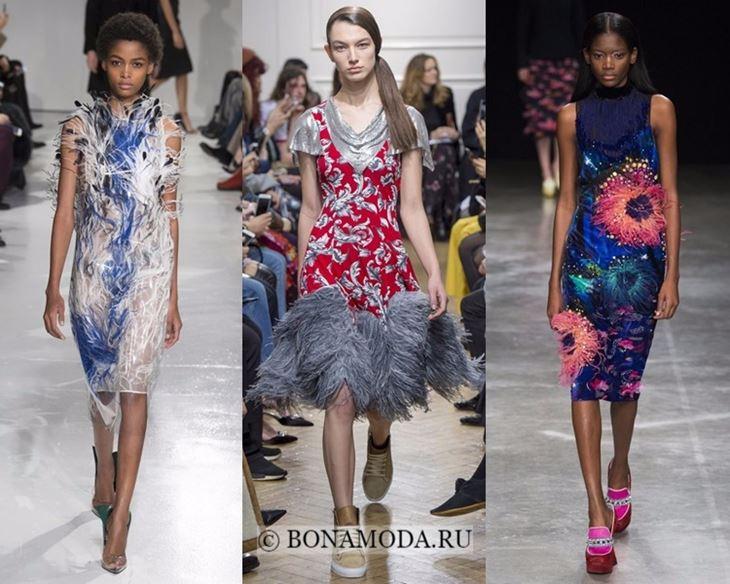 Модные платья осень-зима 2017-2018:  коктейльные с перьями
