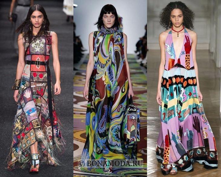 Модные платья осень-зима 2017-2018: длинные этнические