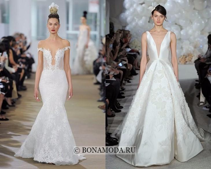 Свадебные платья с V-образной горловиной весна-лето 2018