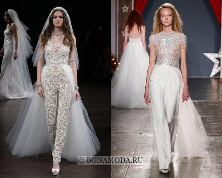 Свадебные комбинезоны со шлейфом весна-лето 2018