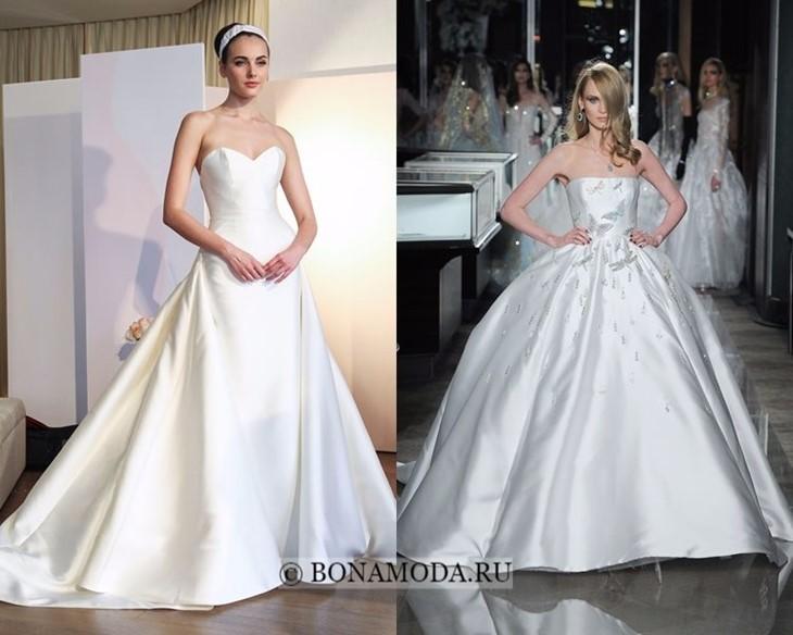 Свадебные платья из атласа и органзы весна-лето 2018
