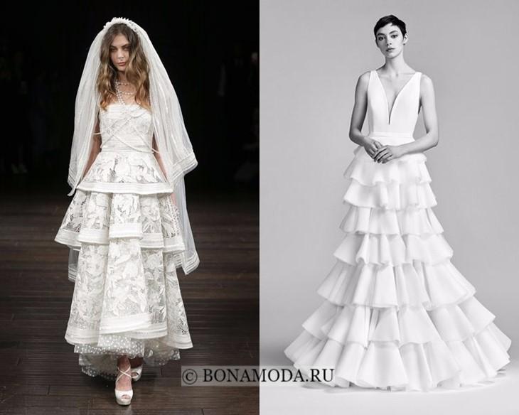 Свадебные платья многослойные весна-лето 2018