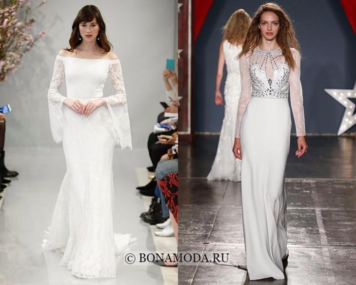 Свадебные платья с кружевными рукавами весна-лето 2018